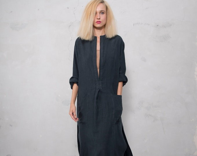 SPA woman linen caftan. BLACK, cool loose fit dress for women. Pure soft linen.