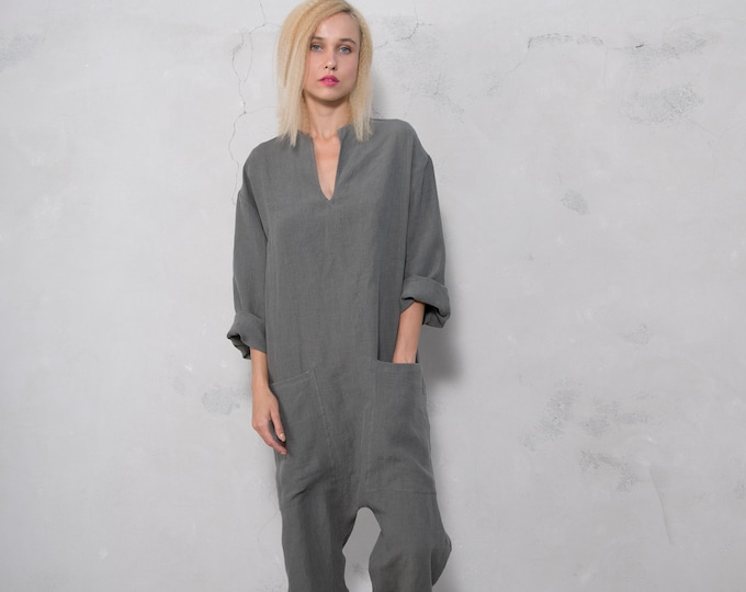 KYOTO JUMPSUIT. Women's lead grey linen overall. Front pockets.OVERSIZED