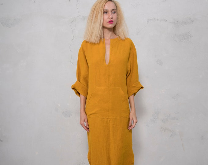 JEFF caftan. CUMIN color tunic. Pure pre washed linen kaftan for women with front pocket. Unique minimal design.