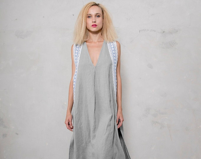 NOMAD dress. Stone Grey ONE SIZE.  Pre washed pure linen. Loose fit summer dress with cotton lace trimming.
