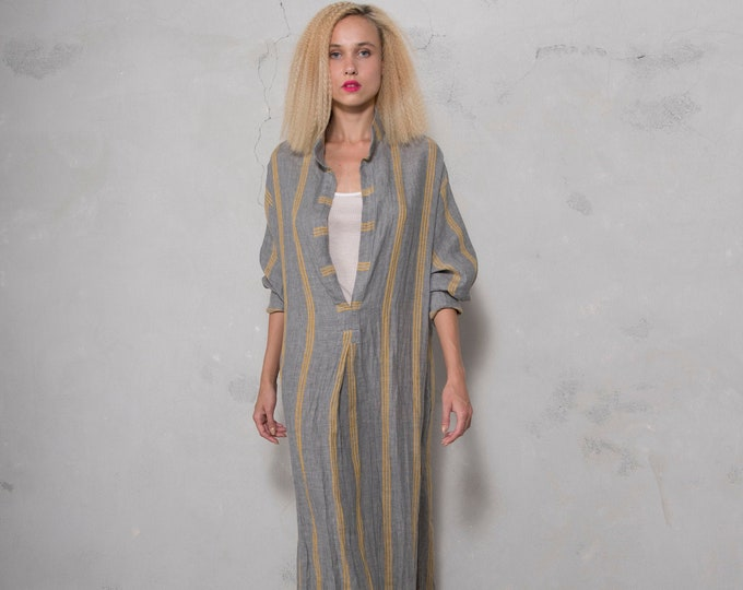 ANAIS women linen caftan. Grey Striped, ONE SIZE, cool dress for women. Pure soft linen. Oversized,Loose fit.
