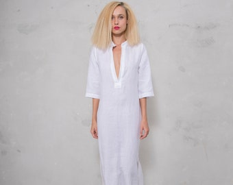 JASMINE midi shirtdress. WHITE  pure soft linen. Cotton lace on the slits.