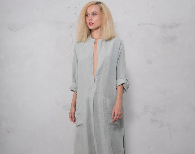SPA woman linen caftan. Stone grey, cool loose fit dress for women. Pure soft linen.