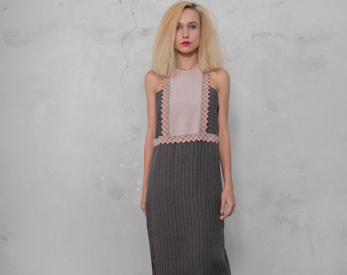 EDEN black striped/desert rose. Pre washed pure linen. Straight cut dress with cotton lace.