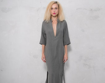 JASMINE midi shirtdress. LEAD GREY pure pre washed linen. Cotton lace on the slits.