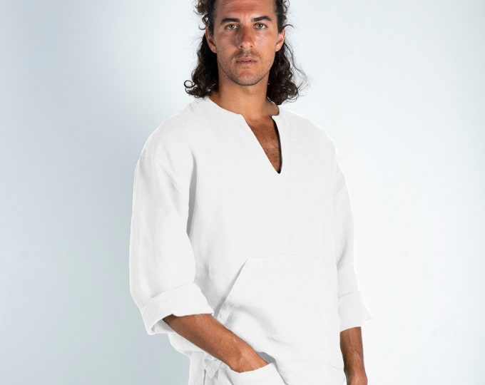 Linen top for men white. PETRA TOP. Snow White pure linen Tunic for men. Simple, contemporary, comfortable, quality soft linen.