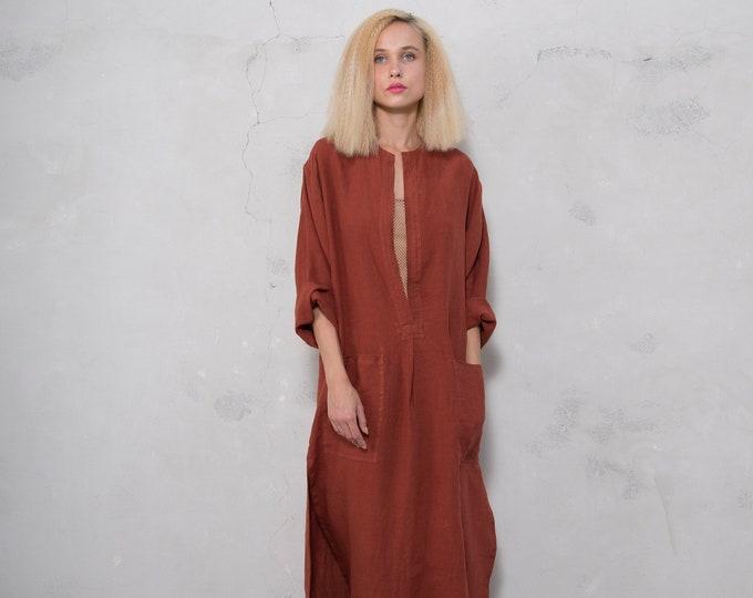 SPA woman linen caftan. Paprika color, cool loose fit dress for women. Pure soft linen.