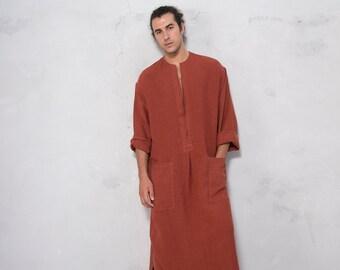 SPA man linen caftan. PAPRIKA color, long, loose fit tunic for men. Pure soft linen.