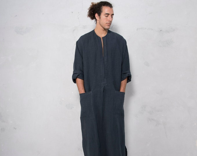 SPA man linen caftan. BLACK color, long, loose fit tunic for men. Pure soft linen.