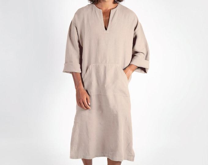 Linen MAN claftan/dress. CLASSICO MIDI. Natural pure linen tunic for men. Simple, contemporary, comfortable design with front pocket.