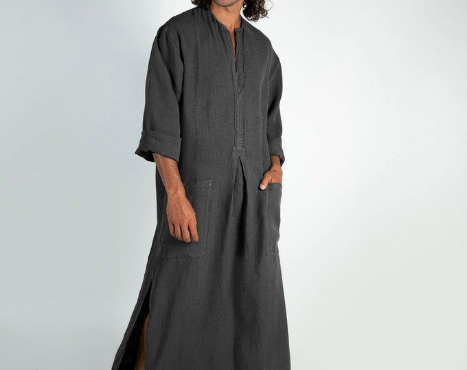 Linen Kaftan SPA MAN.  Anthracite BLACK cool, loose fit tunic for men. Pure soft quality linen.