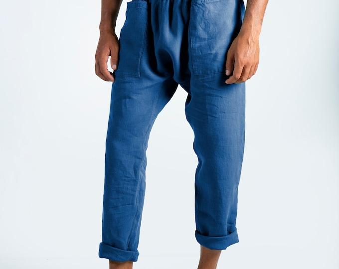 Linen trousers for men. PETRA PANTS. Blue pure linen Pants for men. Simple, contemporary, comfortable, quality soft linen.
