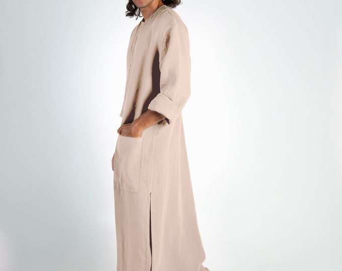 Linen Kaftan SPA MAN. NATURAL, cool, loose fit tunic for men. Pure soft quality linen.