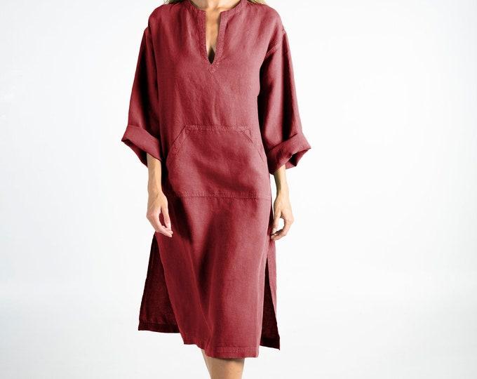 Linen caftan/dress for woman.JEFF MIDI caftan. Ancient RED. Soft linen kaftan for women. Unique, simple, comfortable.