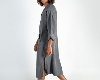 CLASSICO MIDI. Lead Grey pure linen tunic for men. Simple, contemporary, comfortable design with front pocket.Softened fabric.