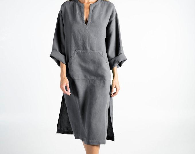 Linen kaftan/dress for woman.JEFF MIDI caftan. Lead GREY. Soft linen kaftan for women. Unique, simple, comfortable.