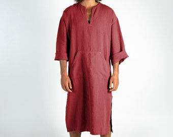 CLASSICO MIDI. Ancient Red pure linen tunic for men. Simple, contemporary, comfortable design with front pocket.Softened fabric.