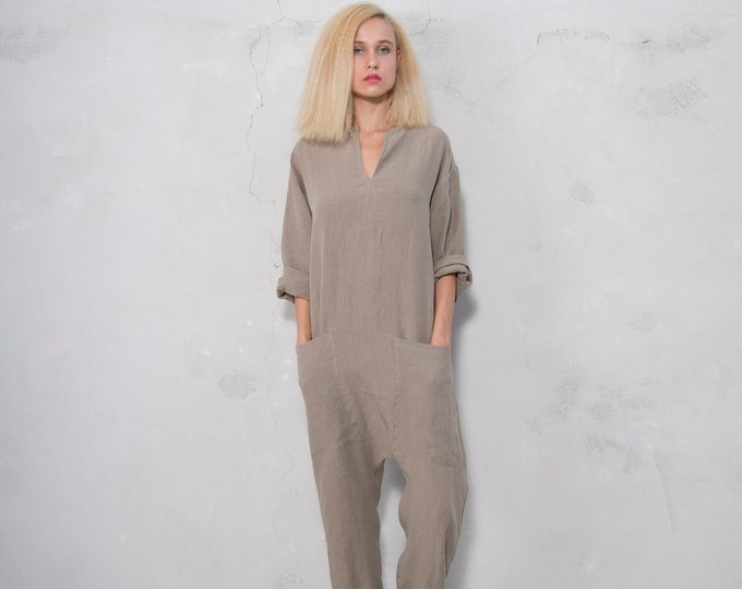 KYOTO JUMPSUIT. Women's sesame color linen overall. Front pockets.OVERSIZED