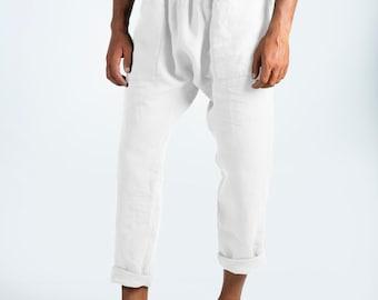 Linen pants for men.PETRA PANTS. Snow White pure linen Pants for men. Simple, contemporary, comfortable, quality soft linen.