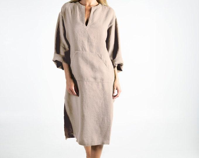 Linen kaftan/dress for woman.JEFF MIDI caftan. NATURAL beige. Soft linen kaftan for women. Unique, simple, comfortable.