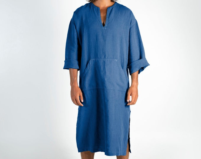 Mens blue linen caftan.CLASSICO MIDI. Blue pure linen tunic for men. Simple, comfortable design with front pocket.Softened fabric.