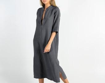 JASMINE. Lead GREY.  Pure soft linen. Middle length. Half sleeves.