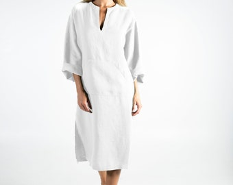 Linen kaftan/dress for woman.JEFF MIDI caftan. Bright WHITE. Soft linen kaftan for women. Unique, simple, comfortable.