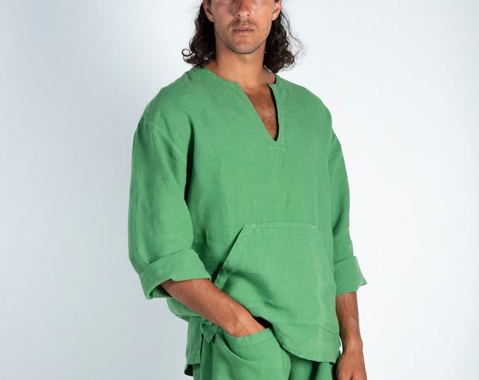 Linen top for men green. PETRA TOP. Roman Green linen Tunic for men. Simple, contemporary, comfortable, quality soft linen.