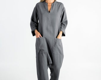 Womens linen jumpsuit grey. KYOTO. Lead GREY linen overall. Front pockets. OVERSIZED