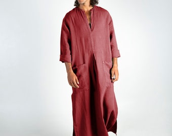 Linen Kaftan SPA MAN. Ancient RED, cool, loose fit tunic for men. Pure soft quality linen.