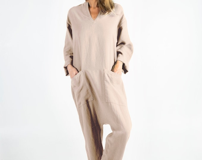 Womens linen jumpsuit natural. KYOTO.  NATURAL beige linen overall. Front pockets. OVERSIZED
