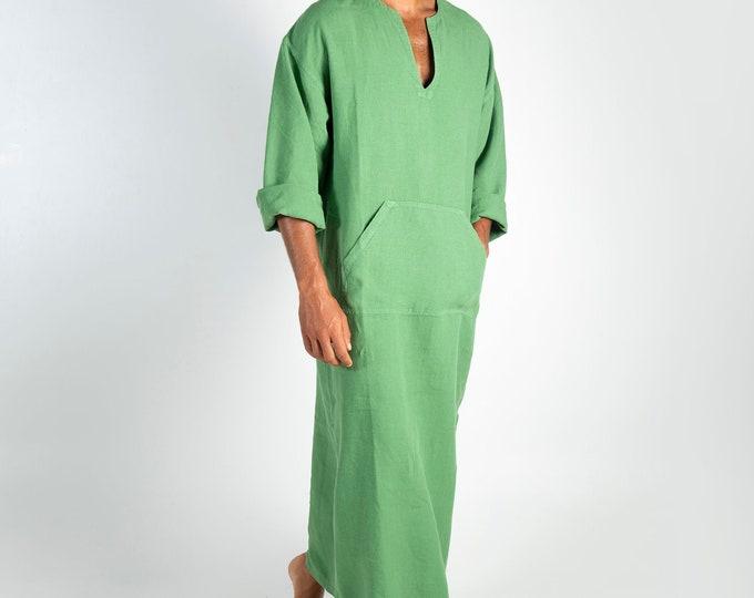 Linen MAN claftan/dress. CLASSICO. Roman Green pure linen tunic for men. Ultra soft 100% linen.