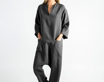 KYOTO Jumpsuit. Anthracite BLACK linen overall. Front pockets.OVERSIZED