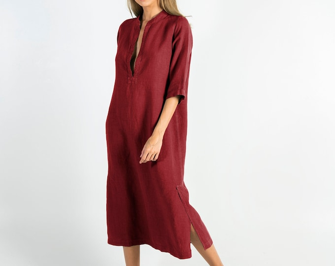 Soft Linen Dress JASMINE. Ancient RED.  Pure soft linen. Middle length. Half sleeves.