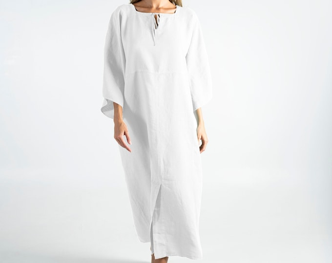 Summer linen clothing for women. MYSTIQUE Bright WHITE pure linen caftan. Oversized loose fit. ONESIZE. Simple, contemporary, comfortable.