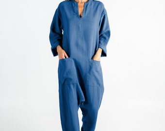 KYOTO Jumpsuit. BLUE linen overall. Front pockets. OVERSIZED