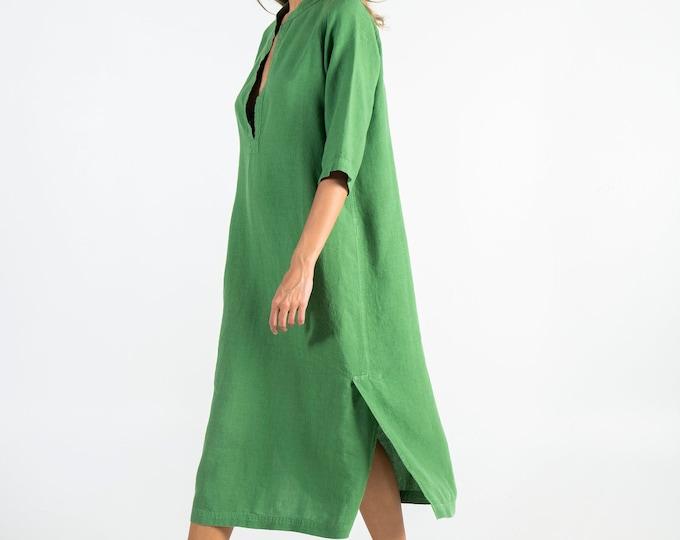 Soft Linen Dress JASMINE. Roman GREEN.  Pure soft linen. Middle length. Half sleeves.