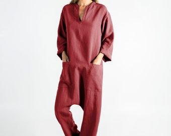 Womens linen jumpsuit red. KYOTO.  Ancient RED linen overall. Front pockets. OVERSIZED