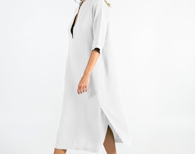 Summer Linen Dress. JASMINE. Bright WHITE.  Pure soft linen. Middle length. Half sleeves.
