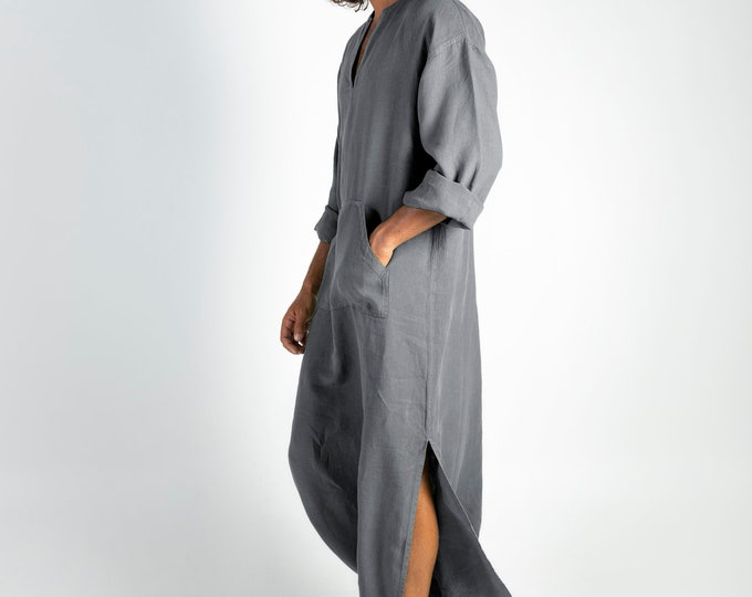 Linen MAN claftan/dress. CLASSICO. Lead Grey pure linen tunic for men. Ultra soft 100% linen.