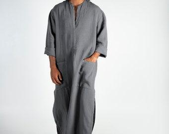 Mens Linen Kaftan SPA MAN. Lead GREY, cool, loose fit tunic for men. Pure soft quality linen.