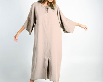 MYSTIQUE natural color pure linen caftan. Oversized loose fit. ONE SIZE. Simple, contemporary, comfortable.
