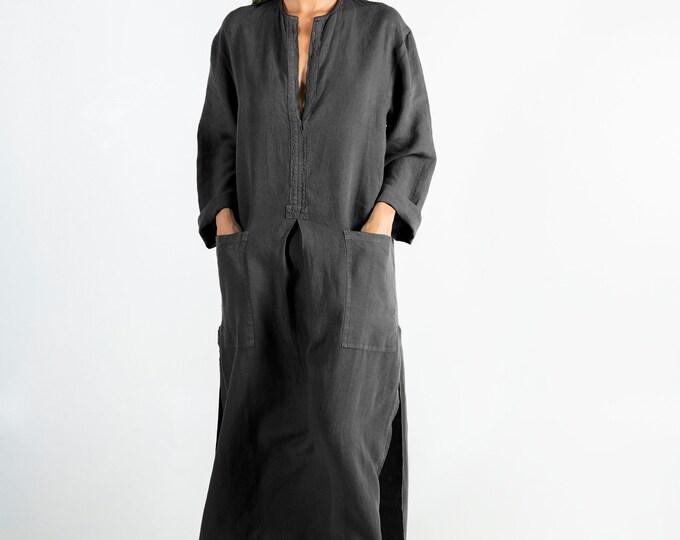 Linen caftan/dress SPA woman. Anthracite BLACK soft linen caftan.Loose fit dress for women.