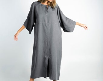 Soft Linen Dress/caftan MYSTIQUE Lead GREY pure linen caftan. Oversized loose fit. ONESIZE. Simple, contemporary, comfortable.