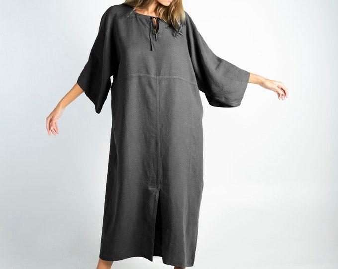 Soft Linen Dress/caftan MYSTIQUE Anthracite BLACK pure linen caftan. Oversized loose fit. ONESIZE. Simple, contemporary, comfortable.