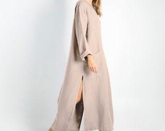 Linen clothing SPA woman. NATURAL beige soft linen caftan.Loose fit dress for women.
