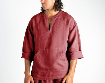 Linen top for men red. PETRA TOP. Ancient Red linen Tunic for men. Simple, contemporary, comfortable, quality soft linen.