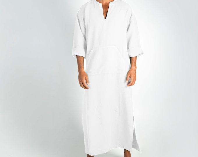 Linen MAN claftan/dress. CLASSICO. Snow White pure linen tunic for men. Ultra soft 100% linen.