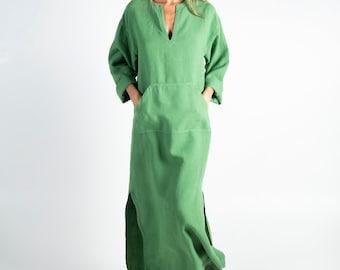Linen caftan/dress for woman.JEFF caftan. Roman GREEN. Pure pre washed linen kaftan for women with front pocket. Unique, minimal design.