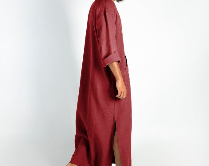 Linen MAN claftan/dress. CLASSICO. Ancient Red pure linen tunic for men. Simple, contemporary, comfortable design with front pocket.